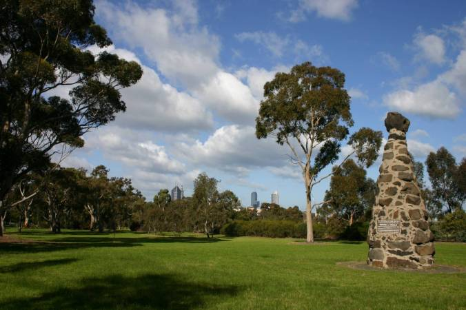 Royal Park and the historical marker for the starting point of  Bourke and Wills journey.